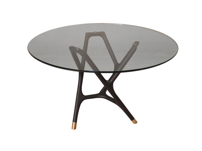 Italian Joyce Contemporary Dining Round Table in Turned Ashwood and Glass Top For Sale