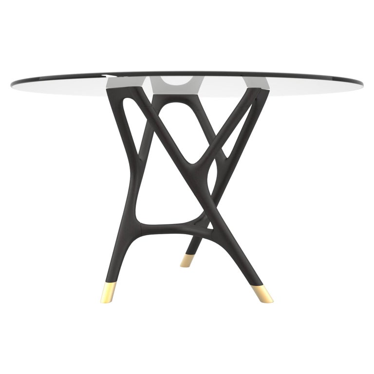 Joyce Contemporary Dining Round Table in Turned Ashwood and Glass Top For Sale