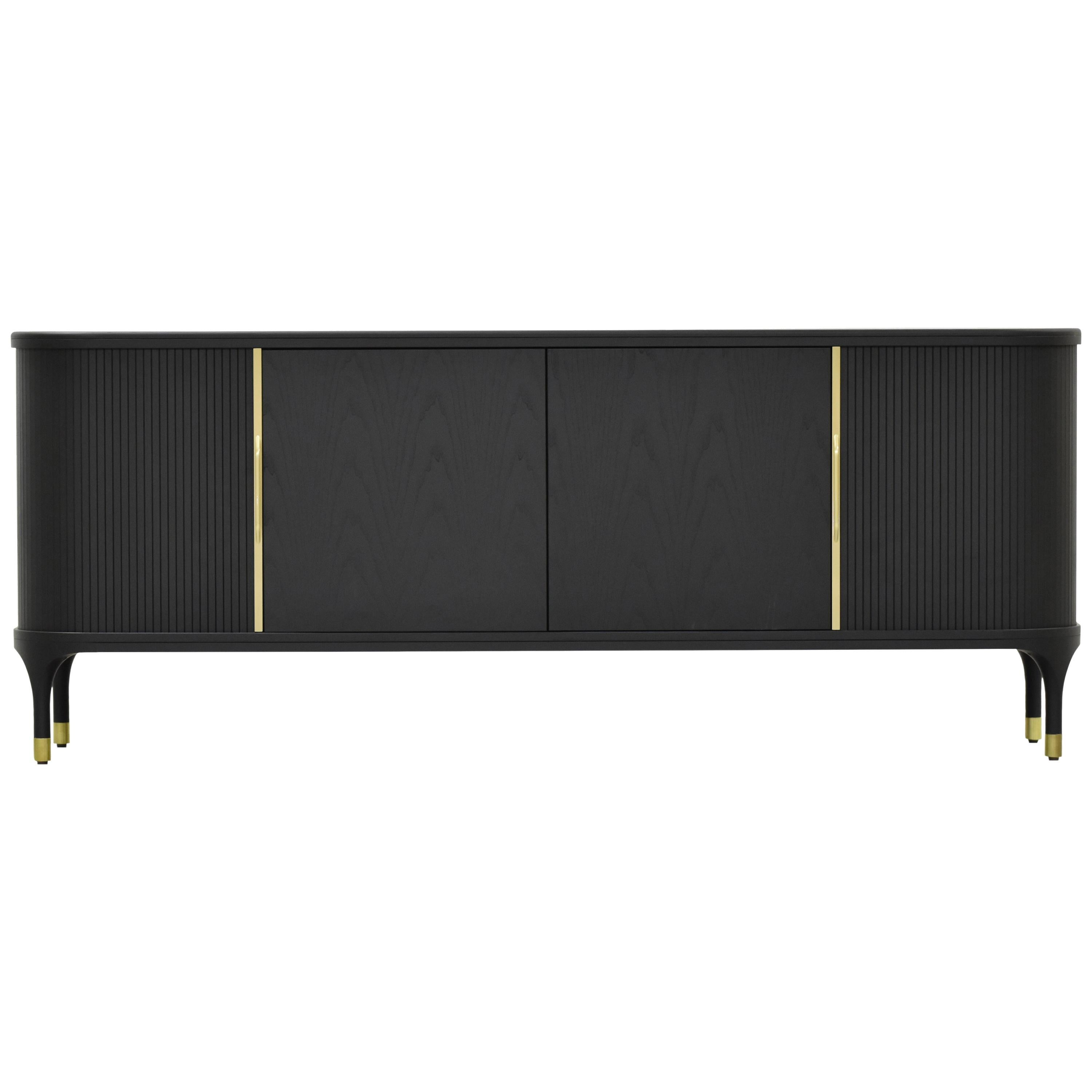 Joyce Contemporary Sideboards in Ashwood with Sliding Doors