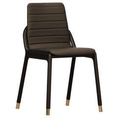 Joyce Contemporary Upholstered Dining Chair in Ashwood and Tufted Leather Seat