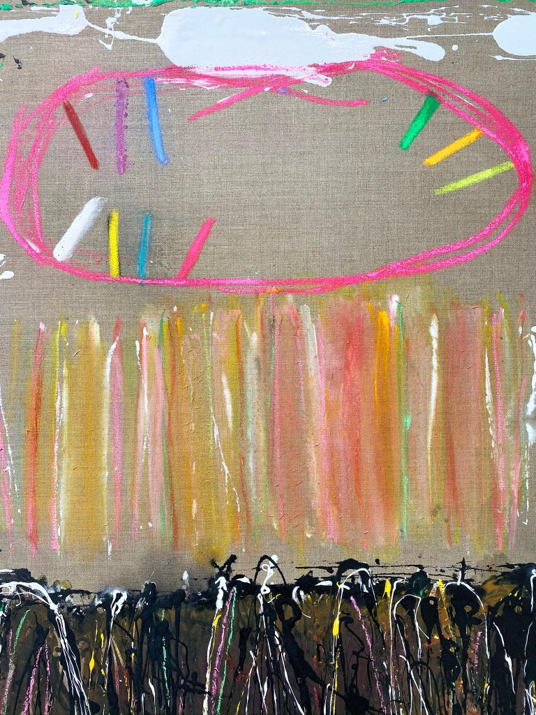 Abstract oil painting, Joyce Weinstein, Country Fields with a Pink For Sale 4