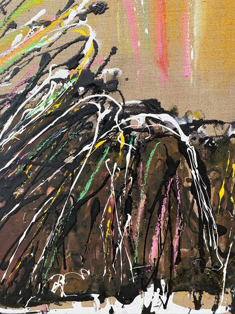 Abstract oil painting, Joyce Weinstein, Country Fields with a Pink For Sale 5