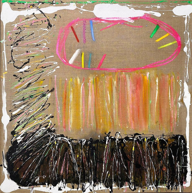 Abstract oil painting, Joyce Weinstein, Country Fields with a Pink - Mixed Media Art by Joyce Weinstein
