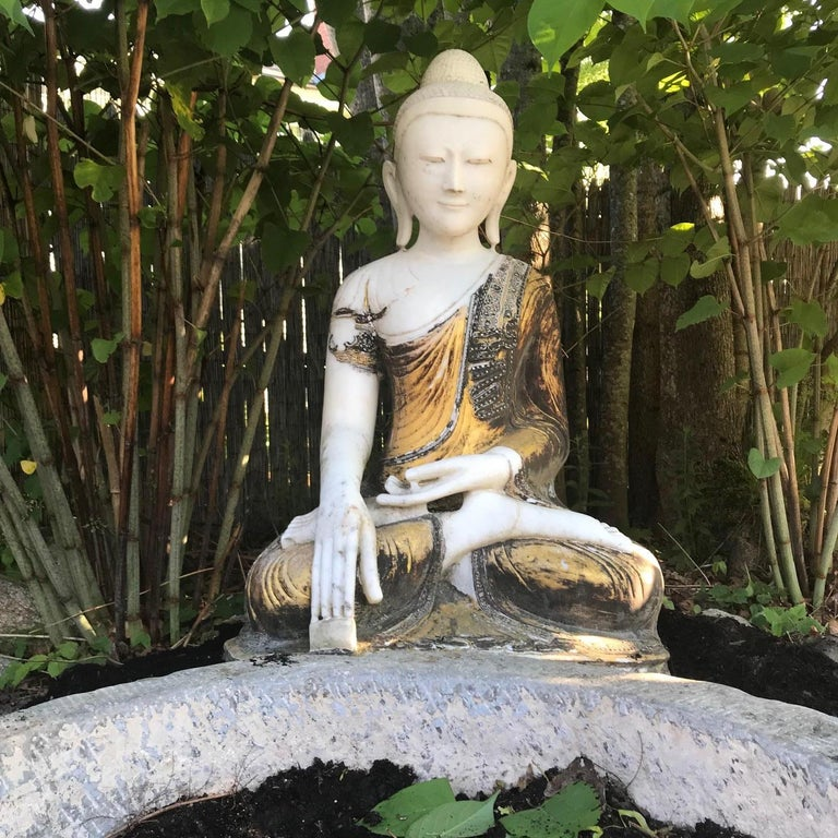 Joyful Big Seated Buddha Hand Carved Hand Lacquered Good Garden Choice For Sale 11