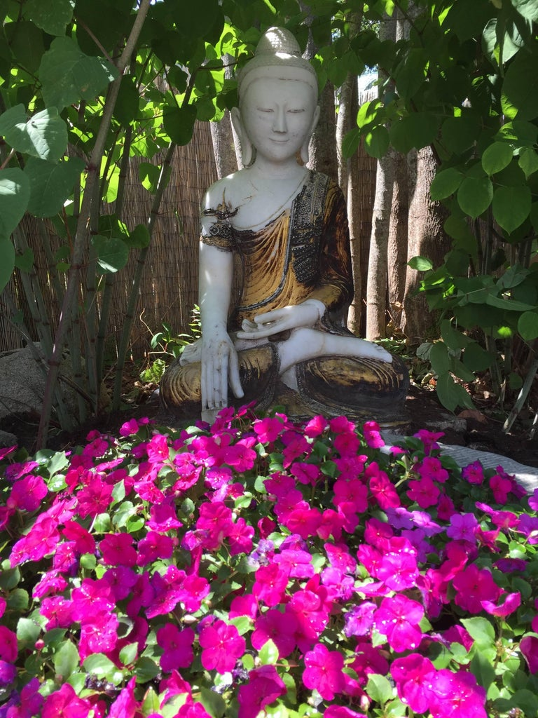 Joyful Big Seated Buddha Hand Carved Hand Lacquered Good Garden Choice For Sale 12