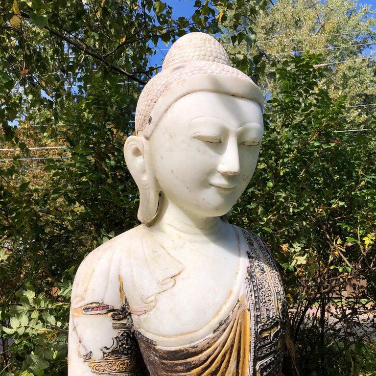 Joyful Big Seated Buddha Hand Carved Hand Lacquered Good Garden Choice For Sale 1
