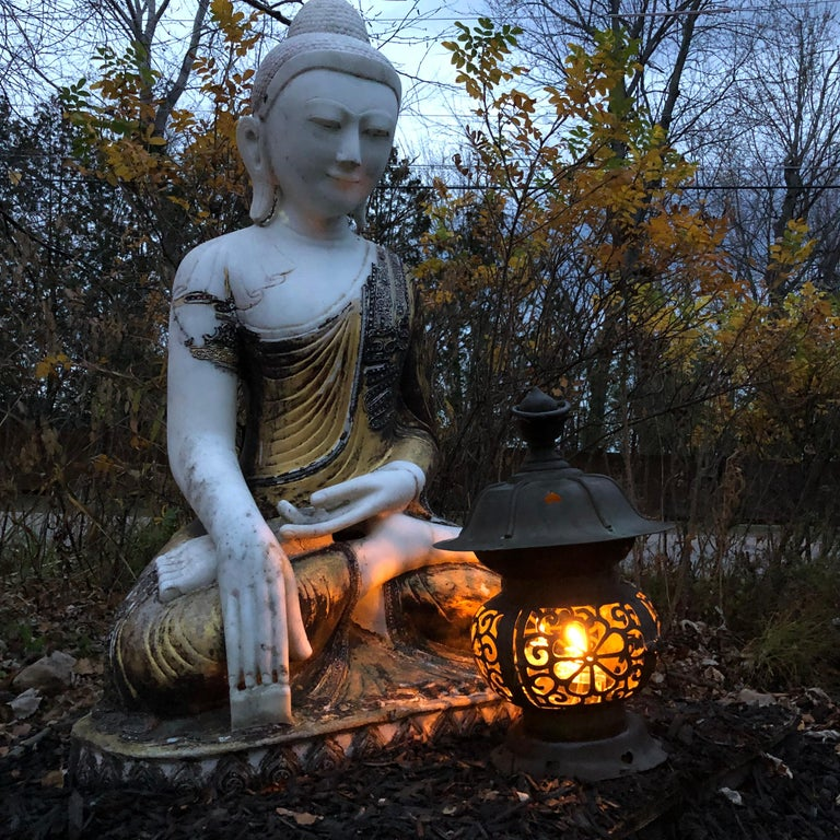 Joyful Big Seated Buddha Hand Carved Hand Lacquered Good Garden Choice In Good Condition For Sale In Shelburne, VT