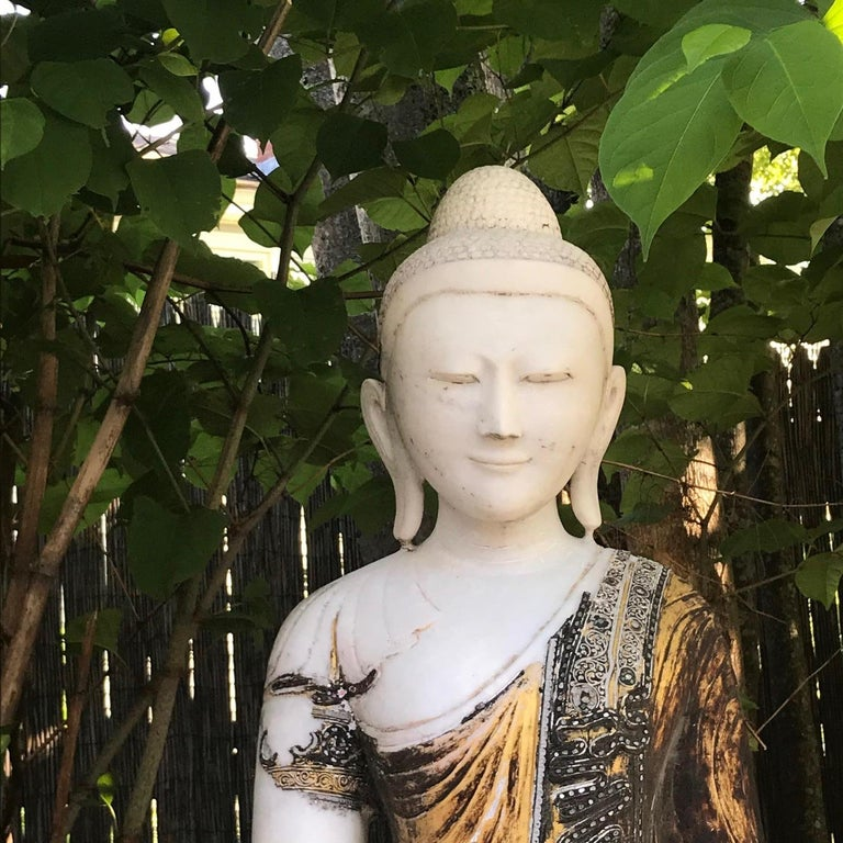 Joyful Big Seated Buddha Hand Carved Hand Lacquered Good Garden Choice For Sale 2