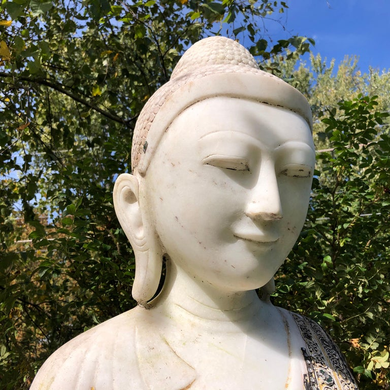 Joyful Big Seated Buddha Hand Carved Hand Lacquered Good Garden Choice For Sale 3