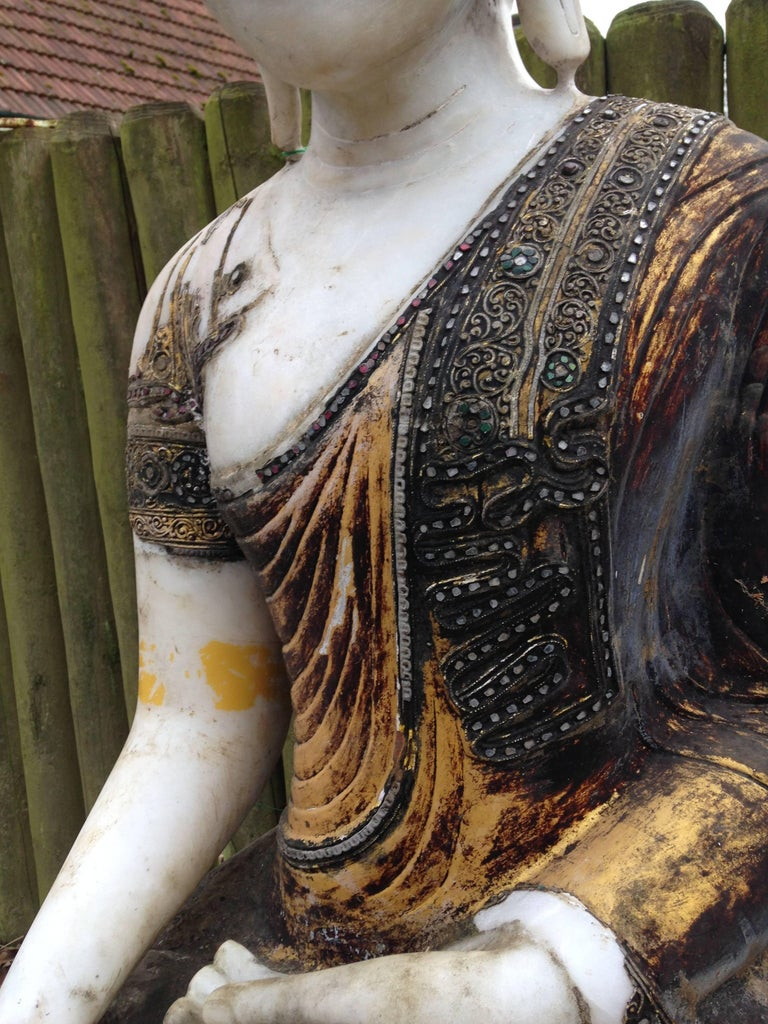Joyful Big Seated Buddha Hand Carved Hand Lacquered Good Garden Choice For Sale 6