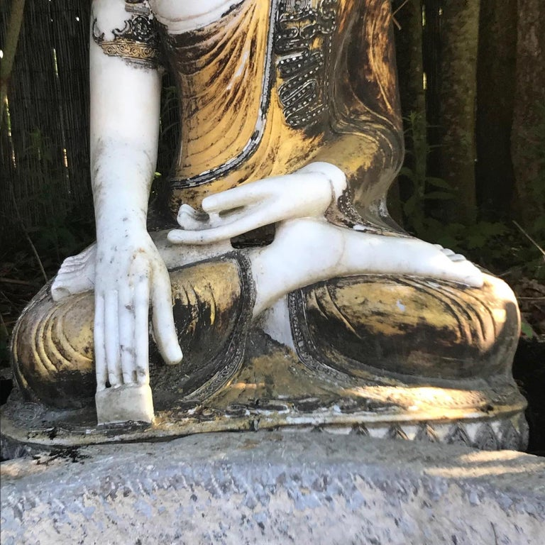 Joyful Big Seated Buddha Hand Carved Hand Lacquered Good Garden Choice For Sale 7