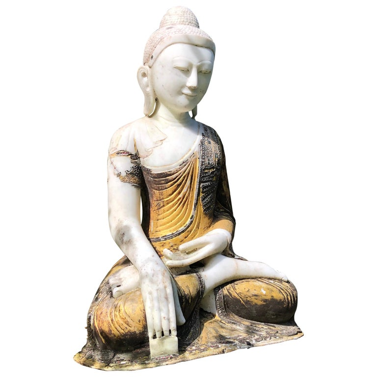 Joyful Big Seated Buddha Hand Carved Hand Lacquered Good Garden Choice For Sale