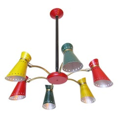 Joyful French 1960s Articulated Chandelier by Rene Mathieu