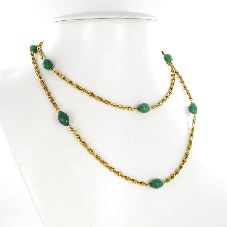 Retro Joyful Summer Necklace in 18 Karat Yelow Gold with Aventurine Quartz For Sale
