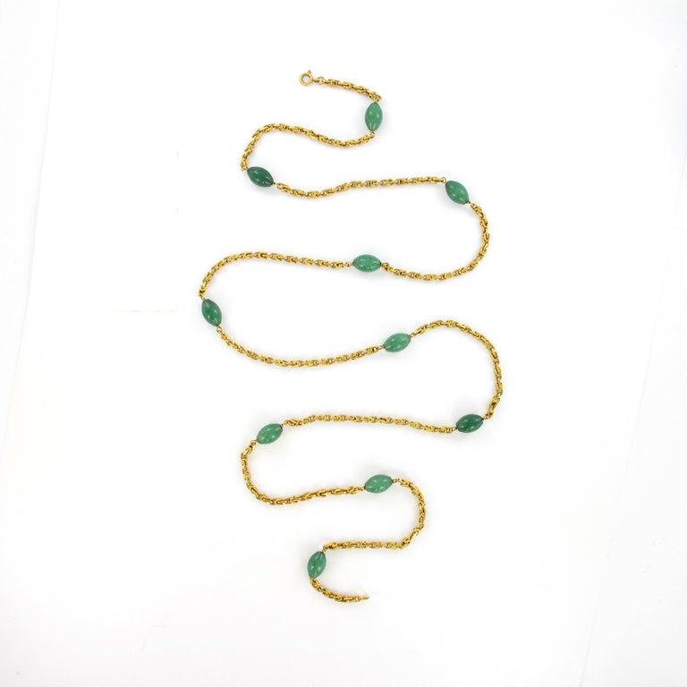 Bead Joyful Summer Necklace in 18 Karat Yelow Gold with Aventurine Quartz For Sale