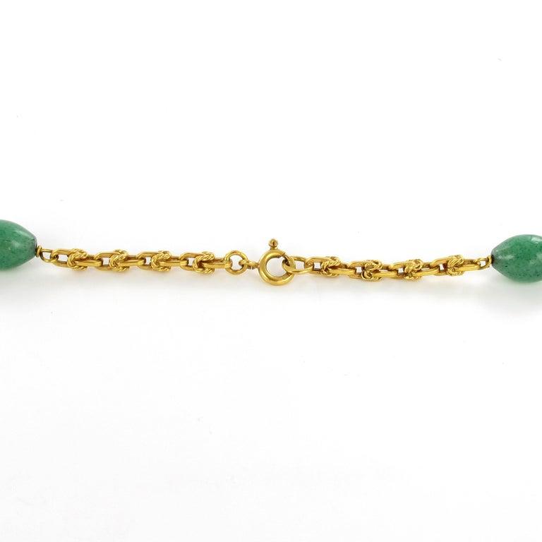 Women's or Men's Joyful Summer Necklace in 18 Karat Yelow Gold with Aventurine Quartz For Sale