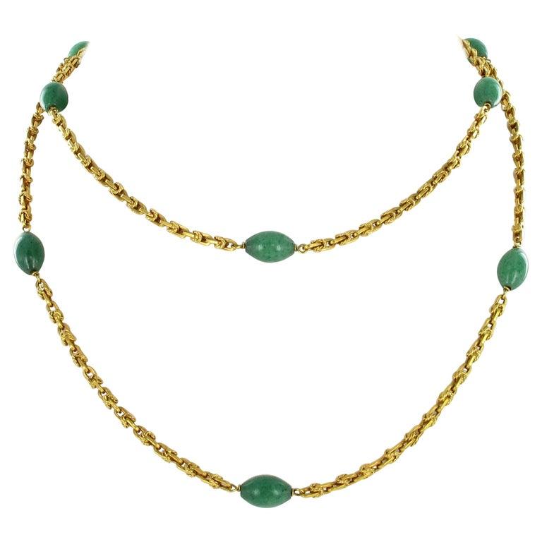 Joyful Summer Necklace in 18 Karat Yelow Gold with Aventurine Quartz For Sale