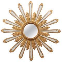 Joyous Early 20th Century Spanish Gilt Sunburst Ray Mirror
