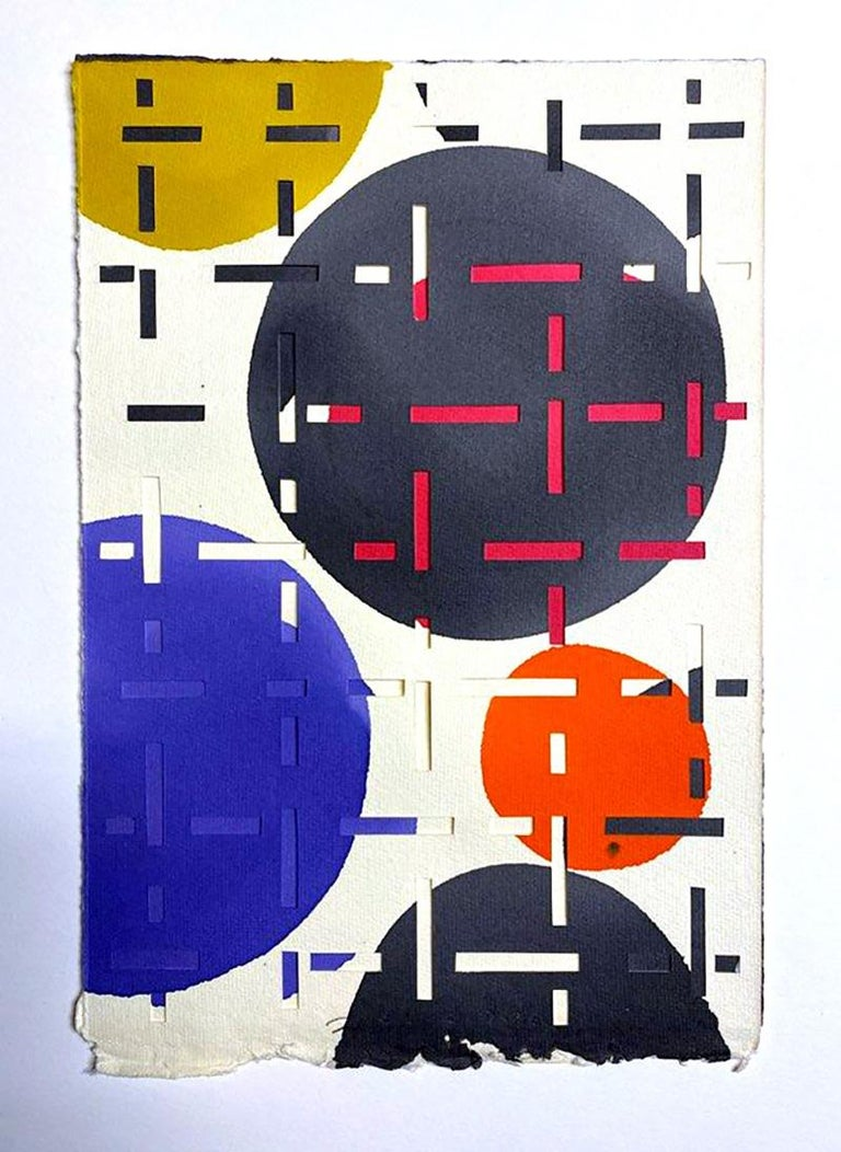 Pair of Dynamic Multi Layer Assemblage Cut Paper Painting Mixed Media American   For Sale 1