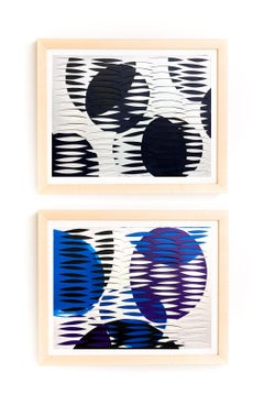 Pair of Dynamic Multi Layer Assemblage Cut Paper Painting Mixed Media American
