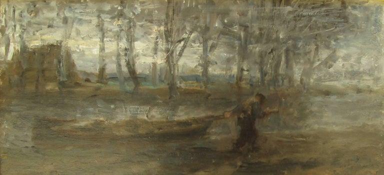 Israëls, Jozef Figurative Painting - The Sand Barge by Jozef Israëls - Landscape painting, Dutch artist, Hague School