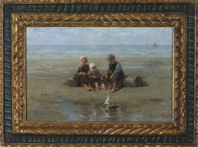 Three Children by the Beach by Jozef Israëls - Painting - Gray Figurative Painting by Israëls, Jozef