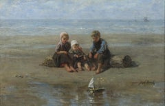 Three Children by the Beach by Jozef Israëls - Painting