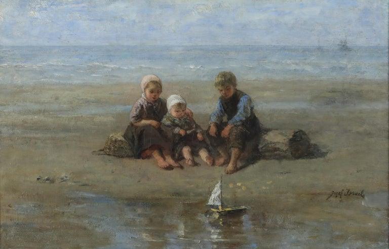 Israëls, Jozef Figurative Painting - Three Children by the Beach by Jozef Israëls - Painting