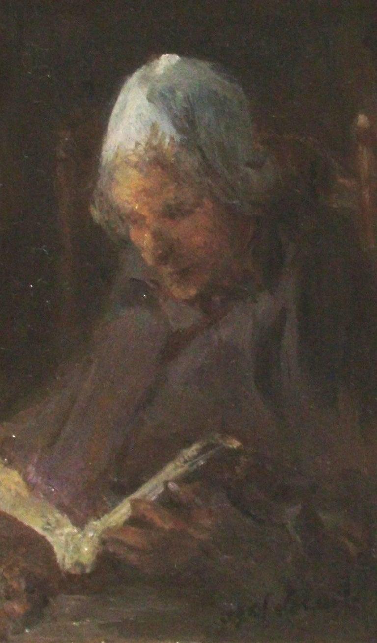 Israëls, Jozef Portrait Painting - Woman Reading by JOZEF ISRAËLS - Dutch painter, Hague School, portrait art
