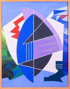 Belgian 20th Century abstract oil painting in blues, 1983