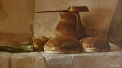 Still life with leek - Oil figurative painting, Earth tones, Realistic