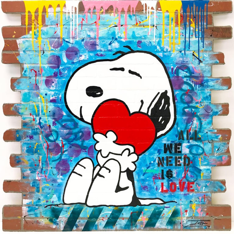 Jozza Figurative Painting - ALL WE NEED IS LOVE (SNOOPY)