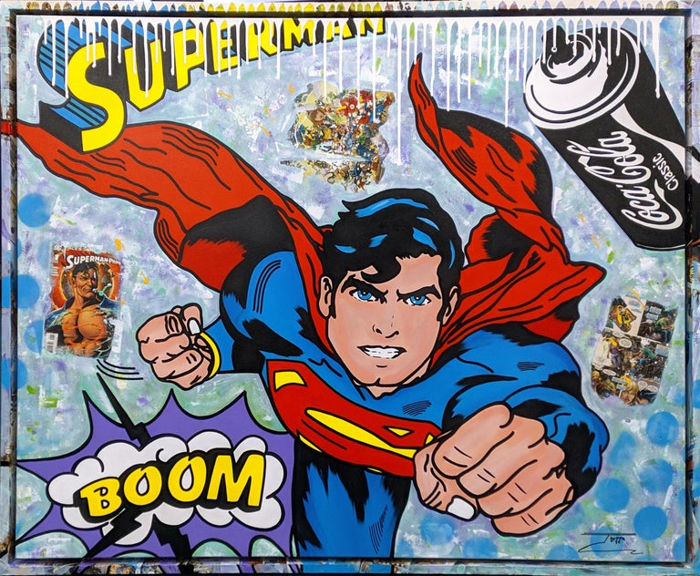 THE BIG BOOM! (SUPERMAN) - Mixed Media Art by Jozza