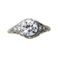 J.P. Caldwell Art Deco Old European Cut Diamond Platinum Ring