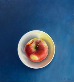Apple- 21st Century Hyper Realistic Still-life painting of an Apple in a Bowl