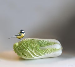Great Tit- 21st Century Hyperrealistic painting of a tit on a cabbage.