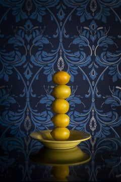 The Tower of Lemon - Still life stacked lemons, yellow dish blue floral vintage