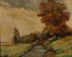 Antique French  Country Landscape Oil Painting 1941