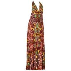 JPG Jean Paul Gaultier L Backless Slinky Art Nouveau Jersey Dress