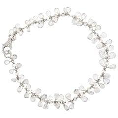 JR 11.01 Carat Dangling Rose Cut Diamond 18 Karat White Gold Bracelet