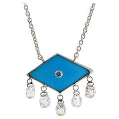 JR 18 Karat White Gold Dangling Diamond Briolette Turquoise Choker Necklace