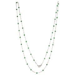 JR 18 Karat White Gold Rose Cut Diamond Emerald Necklace