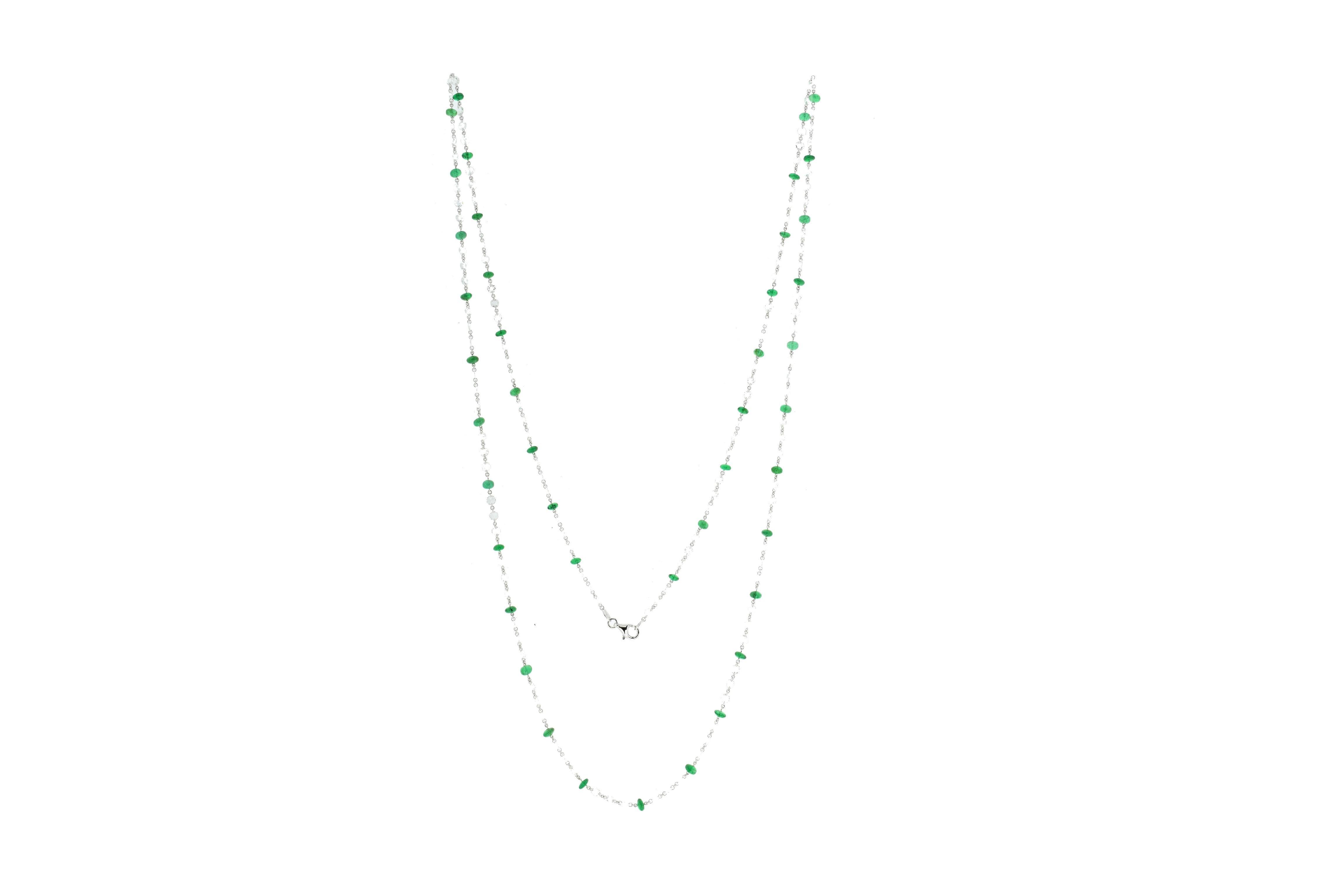JR 18Karat White Gold Rose Cut Diamond Emerald Necklace