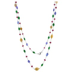 JR 18 Karat White Gold Rose Cut Diamond Multi-Color Necklace