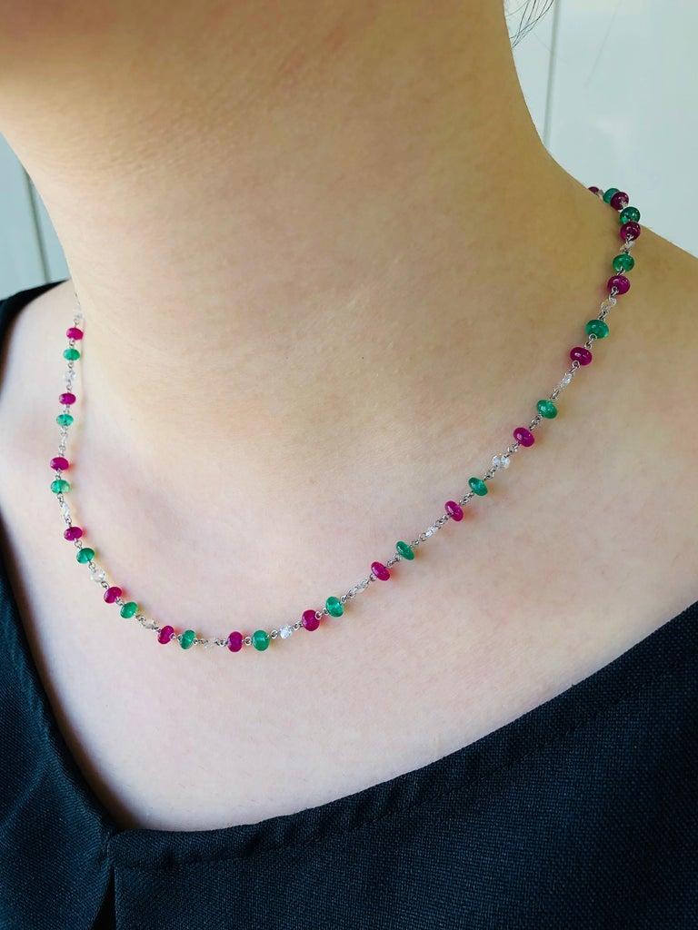 Contemporary JR 18 Karat White Gold Rose Cut Diamond Ruby Emerald Necklace For Sale