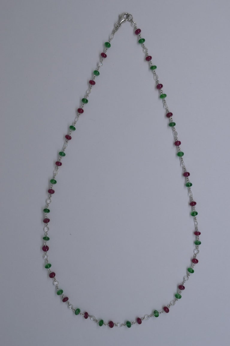 JR 18 Karat White Gold Rose Cut Diamond Ruby Emerald Necklace In New Condition For Sale In Hong Kong, HK