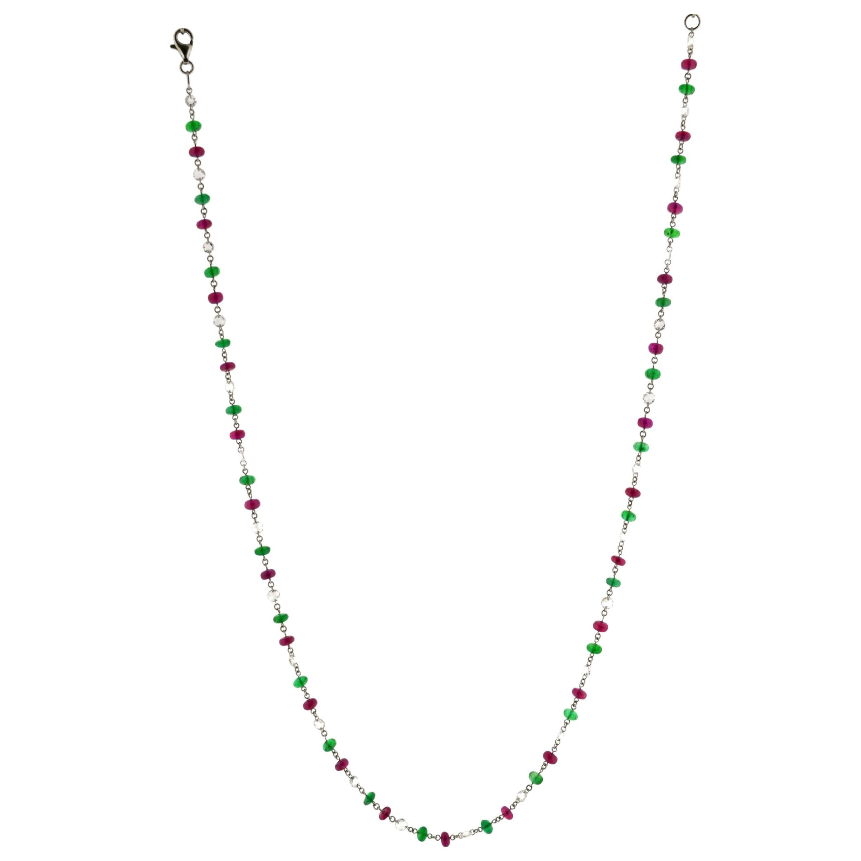 JR 18 Karat White Gold Rose Cut Diamond Ruby Emerald Necklace