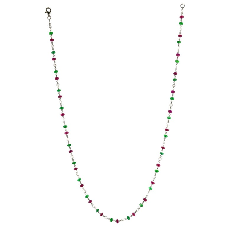JR 18 Karat White Gold Rose Cut Diamond Ruby Emerald Necklace For Sale