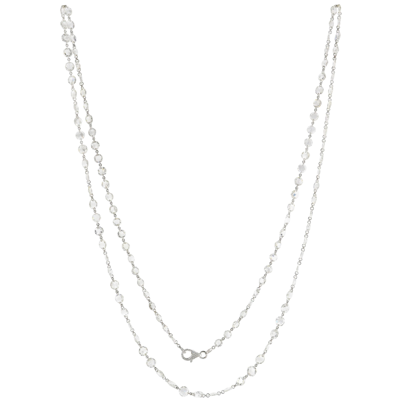 JR 33.10 Carat White Rose Cut Diamond Necklace 18 Karat White Gold