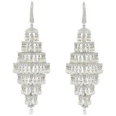 JR 35.08 Carat Diamond Briolette Chandelier 18 Karat White Gold Earring